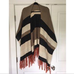 Striped blanket style cardigan